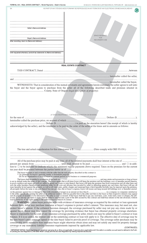 SN 854 Real Estate Contract, Partial Payments, Deed in Escrow (OR)
