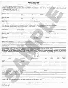SN 903 Credit Application, Individual (ANY STATE)