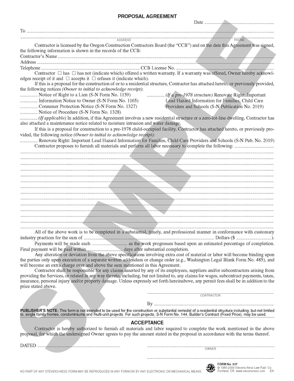 SN 937 Proposal and Acceptance Agreement (OR)