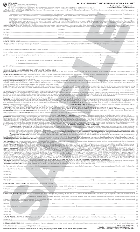 SN BROKER Broker's Sale Agreement Set (OR)