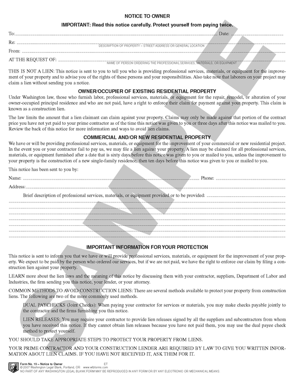 WA 19 Notice to Owner (re: Construction Liens) (WA)