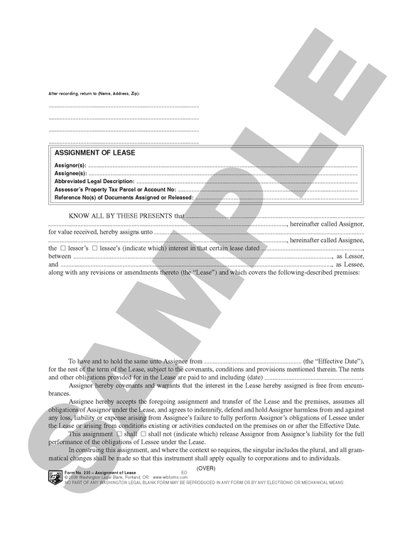 WA 235 Assignment of Lease (WA)