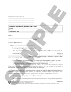 WA 314 Affidavit of Successor of Decedent (Small Estate) (WA)