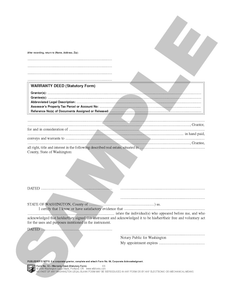 WA 53 Warranty Deed (Statutory Form) (WA)