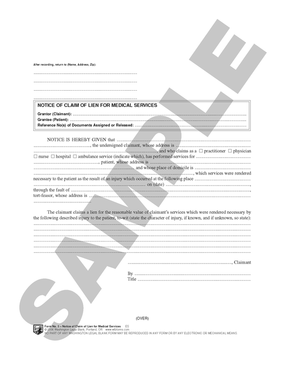 WA 5 Notice of Claim of Lien for Medical Services (WA)