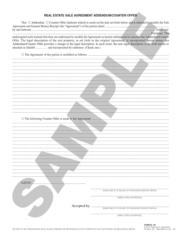 WA 6R Real Estate Sale Agreement Addendum/Counter Offer (ANY STATE)