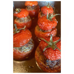 Tomates Farcies (Tomatoes stuffed with pork and mushroom)