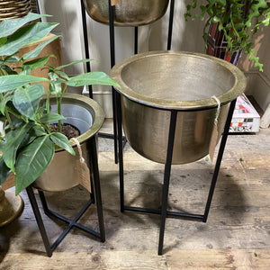 Gold aluminium planter with stand (3 sizes)