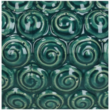 Load image into Gallery viewer, Petrol glazed ceramic urn swirl pattern detail