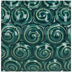 Petrol glazed ceramic urn swirl pattern detail
