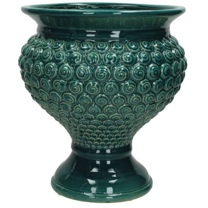 Petrol glazed ceramic urn