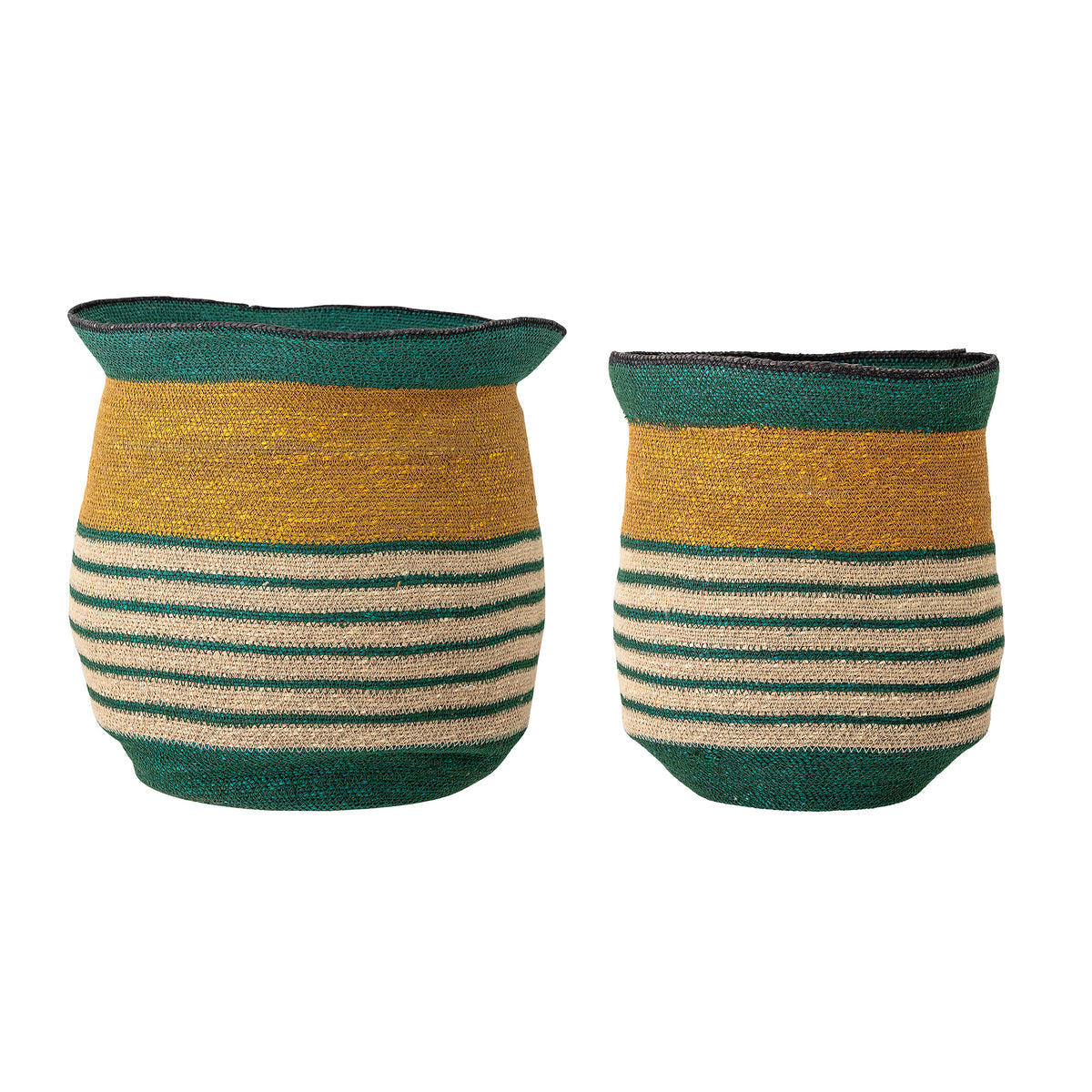 Striped seagrass basket in two sizes