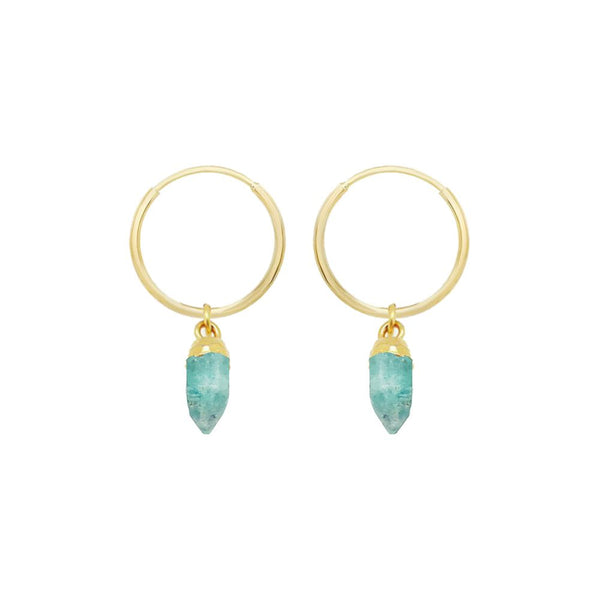 Gold hoop earrings with an amazonite drop pendant.