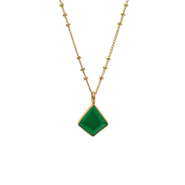 Gold necklace with a green onyx pendant, losange shaped.
