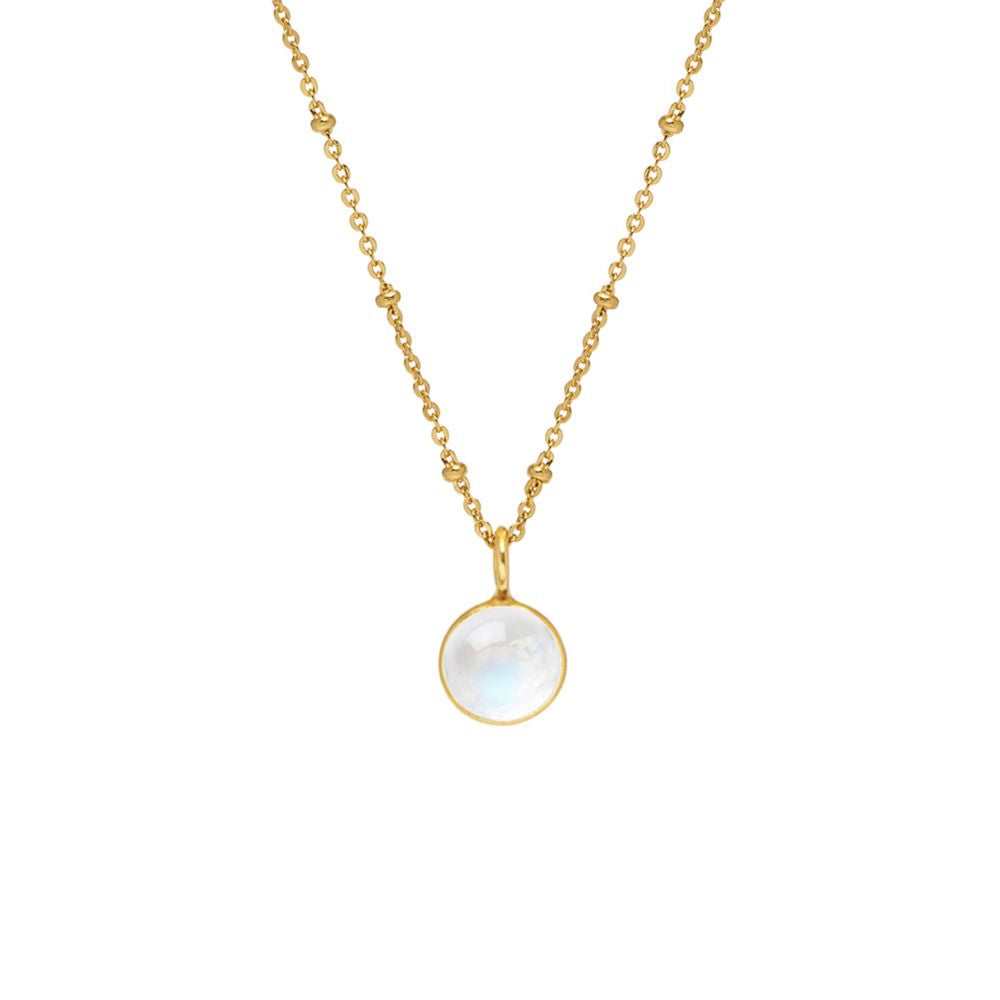 Gold necklace with cabochon moonstone pendant. Iridescent in the sun.