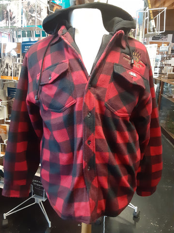 Red Plaid Jacket with Bear Emblem