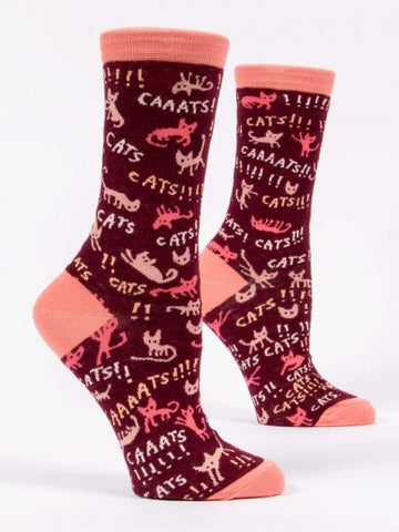 Blue Q Women's Crew Sock -Cats!