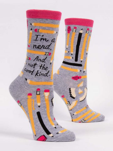 Blue Q Women's Crew Sock -I'm A Nerd