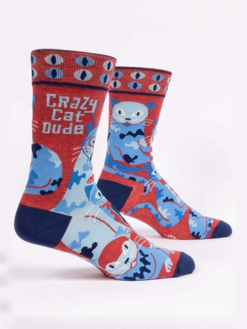 Blue Q Men's Crew Sock - Crazy Cat Dude