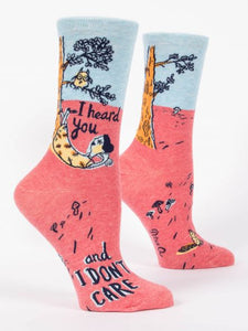 Blue Q Women's Crew Sock -I Heard you Don't Care