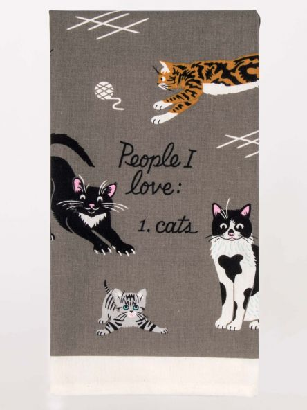 Blue Q Screen Printed Dish Towel - People I Love - Cats