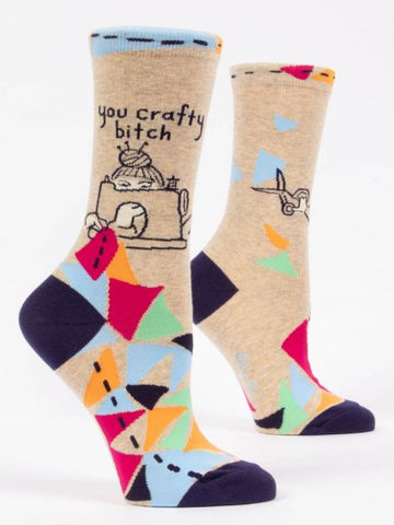 Blue Q Women's Crew Sock - You Crafty Bitch