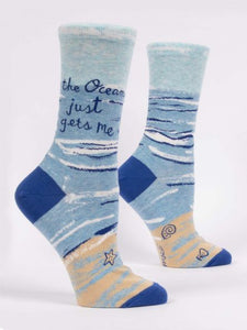 Blue Q Women's Crew Sock - Ocean Gets Me