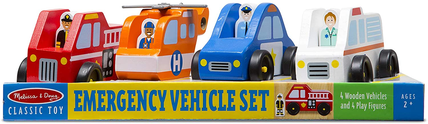 Melissa and Doug Emergency Vehicle Wooden Play Set