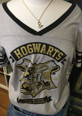 Harry Potter T-shirt-Hogwarts Crest V-Neck- Ladies
