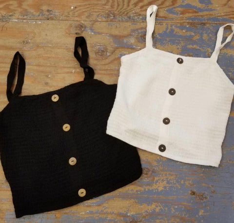 Shirred Tank Top Linen- Black or White