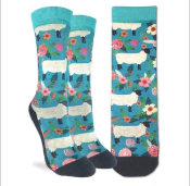 Good Luck Sock - Women's Crew Sock- Floral Sheep