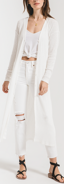 Ribbed Duster Long Cardigan