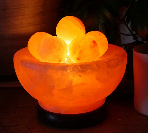 Himalayan Salt Lamp- Bowl Style with Massage orbs