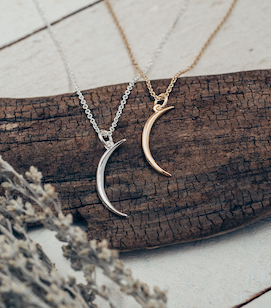 Waning Crescent Moon Gold or Silver Necklace