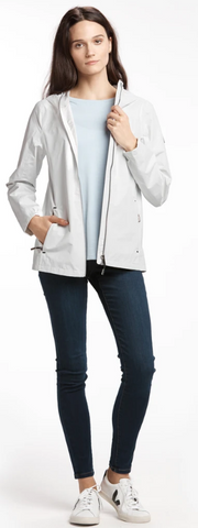 Lole Packable Short Rain Jacket- Coastal Fog White