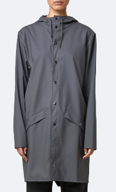 Rains Long Raincoat- Charcoal