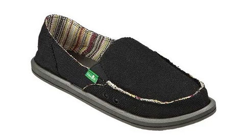 Sanuk- Donna Hemp Shoe- Black, Olive, Natural