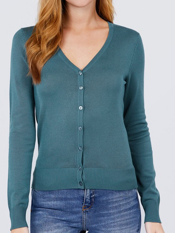 V-Neck Cardigan-Dark Teal