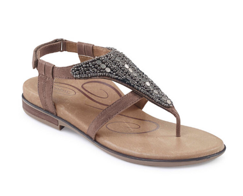 Aetrex- Leather Beaded Sandal with Arch Support