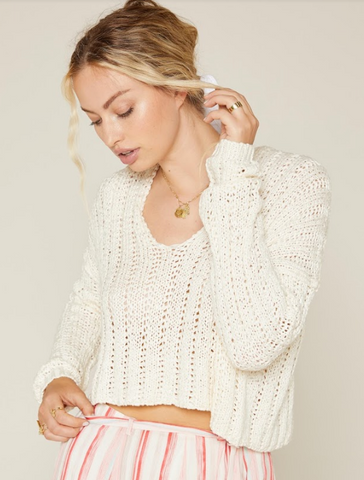 Sadie & Sage -Deep V-neck Sweater