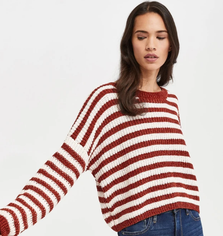 Velvet Knit Stripe Sweater-Spice