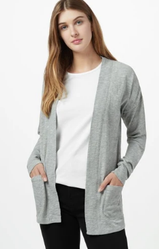 Ten Tree Women's Pocket Cardigan-Organic Cotton - Light Grey Marle