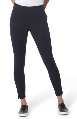 Mid-Rise Pull On Slim Pant with Back Pockets and Wide Waist- Navy