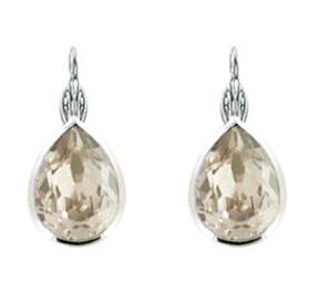 Rhodium Small Teardrop Earring  - Swarovski Crystal- Chrystal Silver Shade