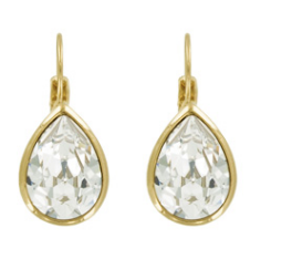 Bright Small Teardrop Earring  - Swarovski Crystal-Crystal