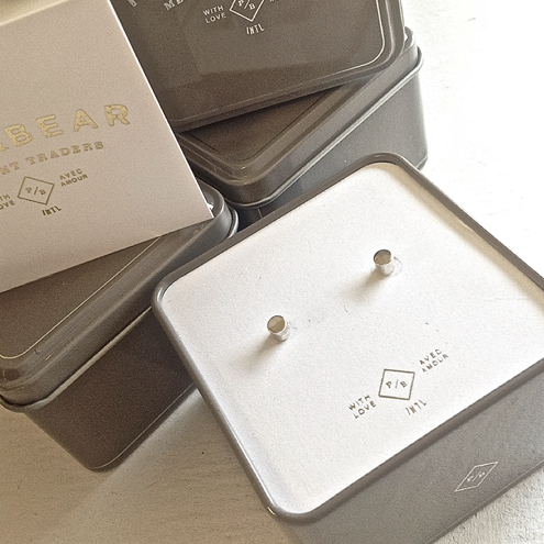 "Pika & Bear - ""Kulindros"" Cylinder Stud Earrings (Sterling Silver)"