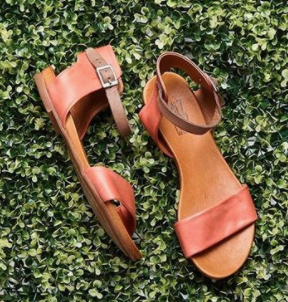 Miz Mooz Flat Sandal- Leather- Brandy