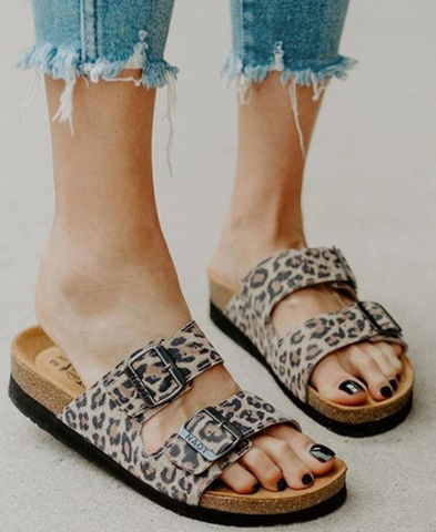 NAOT- 2 Strap Slide Sandal- Genuine Leather-Cheetah Print