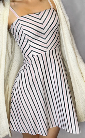 Stripe Summer Dress-Peach