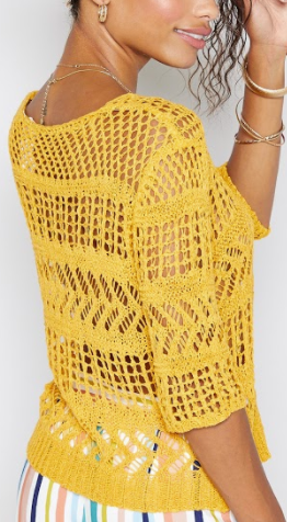 Summer Crochet Sweater- Canary